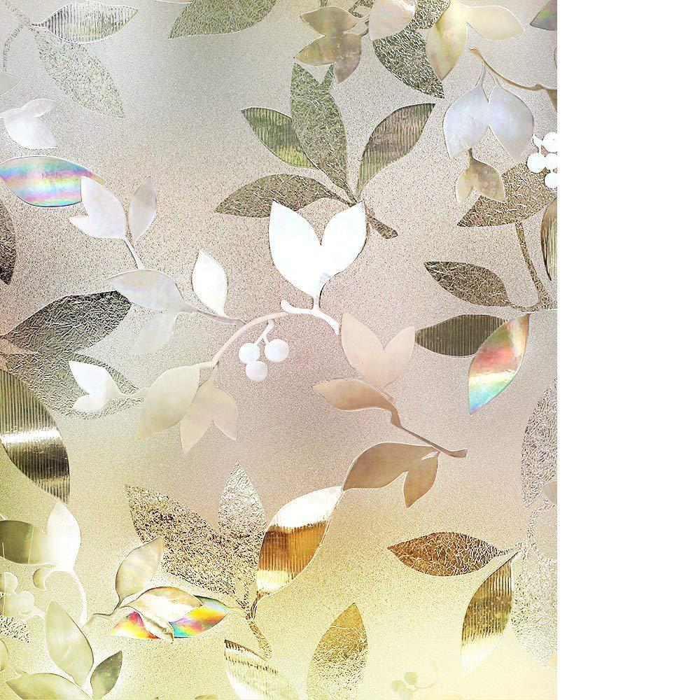 RABBITGOO 3D Window Films Privacy Film Static Decorative Leaf Film Non-Adhesive Heat Control Anti UV 35.4In. by 78.7In. (90 x 200CM) GLOBEGOU CO. LTD A072-90