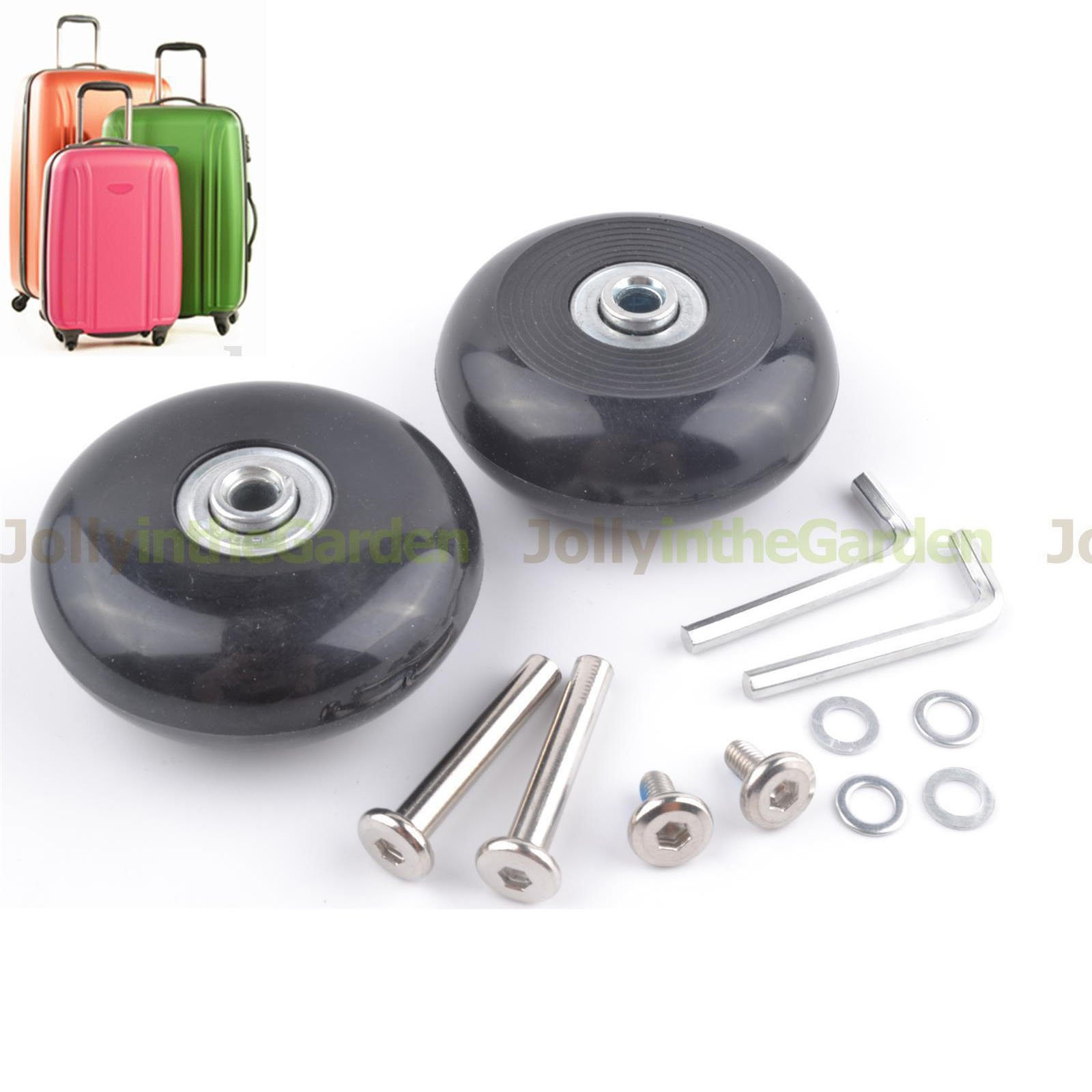 ABBOTT OD. 64 mm Wide 24 mm Axle 40 mm Luggage Suitcase/Inline Outdoor Skate Replacement Wheels with ABEC 608zz Bearings