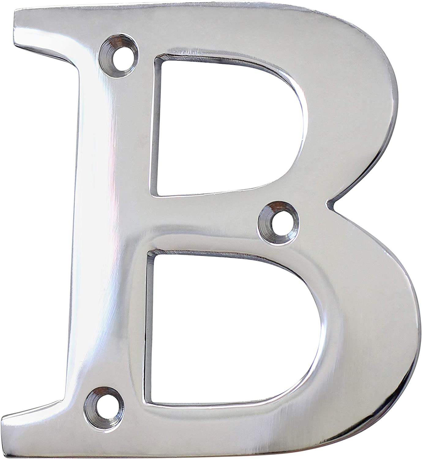 "RCH Hardware Solid Brass 3"" Tall House Letter B, Polished Chrome Shiny Silver Matching Screws Included"