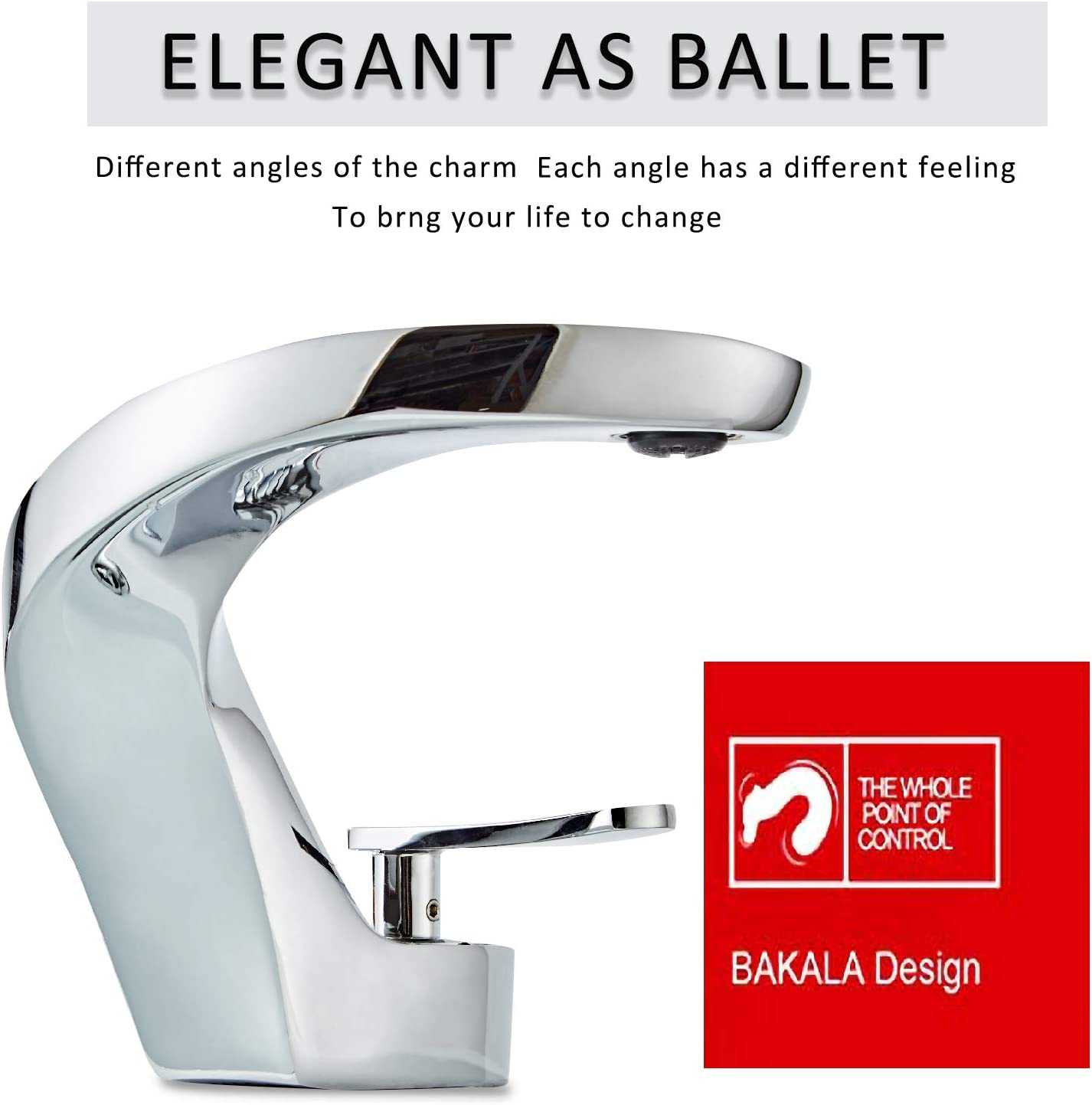 BAKALA Bathroom Sink Faucets with Radian Design High-end Household Commercial Single Handle Lead-Free Hot and Cold Water Faucet Including Water Pipe-Chrome - -