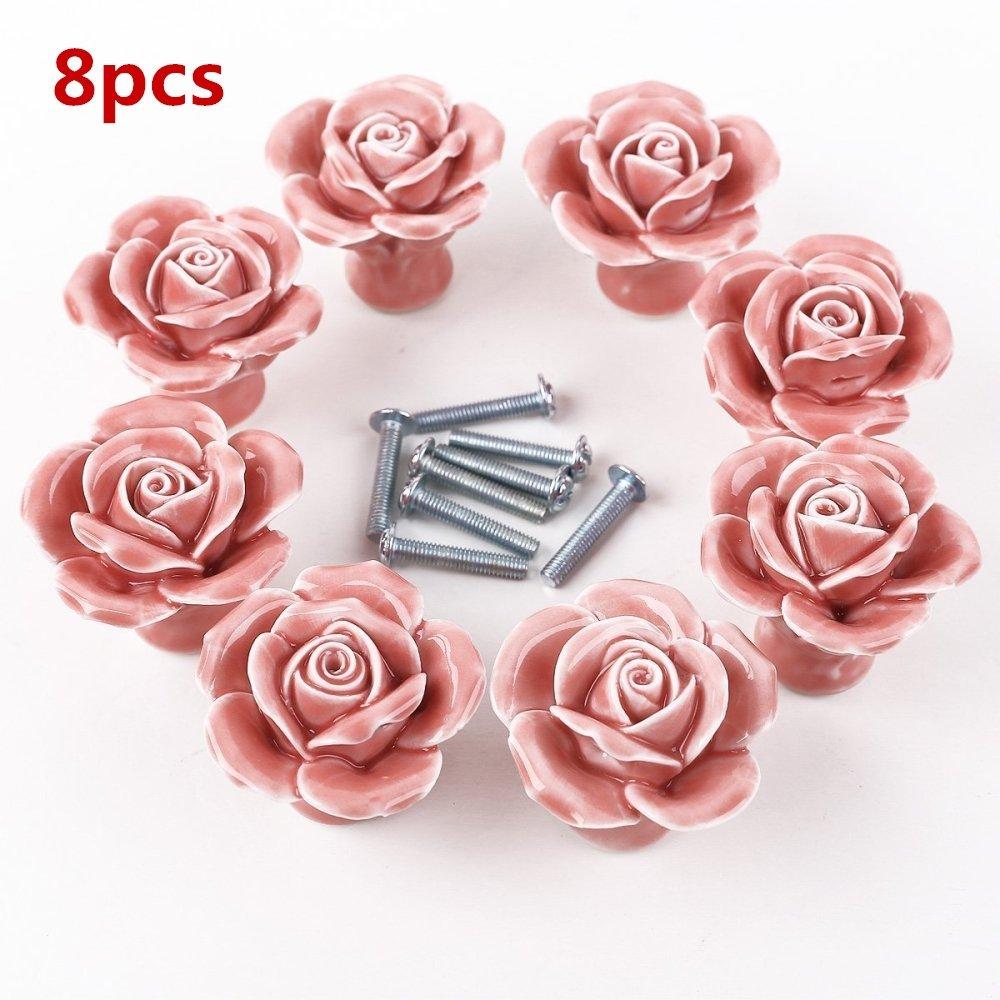 8pcs Ceramic Vintage Rose Flower Floral Knobs Door Handle Pull with Screw for Cabinet Drawer Door Cupboard Wardrobe Locker Closet (White) FABSELLER