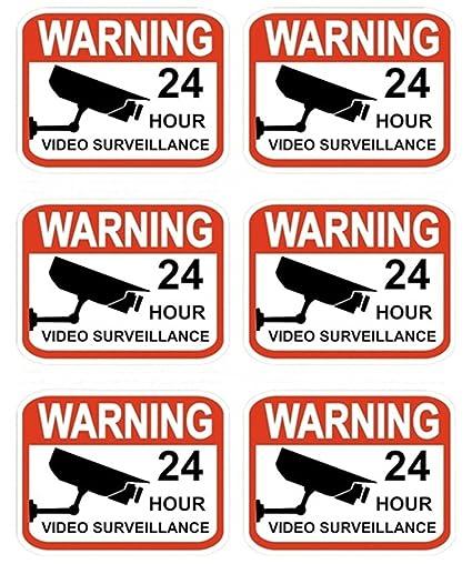 Amazon.com: GVGs Shop - 6 pegatinas para videovigilancia sin ...