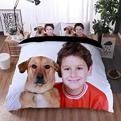 Custom Soft Duvet Cover Set Microfiber Duvet Cover with 2 Pillow Cases Personalized Photo Bedding 3Pcs Set with Picture Twin Size (Black Lining, 68x88inches): Home & Kitchen