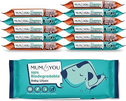 Mum & You Toallitas Húmedas para Bebé 100% Biodegradables, Veganas ...