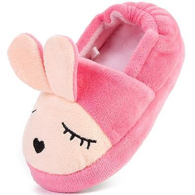 3f2818c99ae FEETCITY Cute Bunny Memory Foam Slide Slippers Boots Anti Slip Fluffy House  Shoes Little Kids
