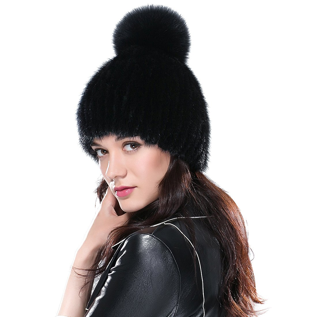URSFUR Women's Knit Mink Beanie with Fox Pom Pom Black