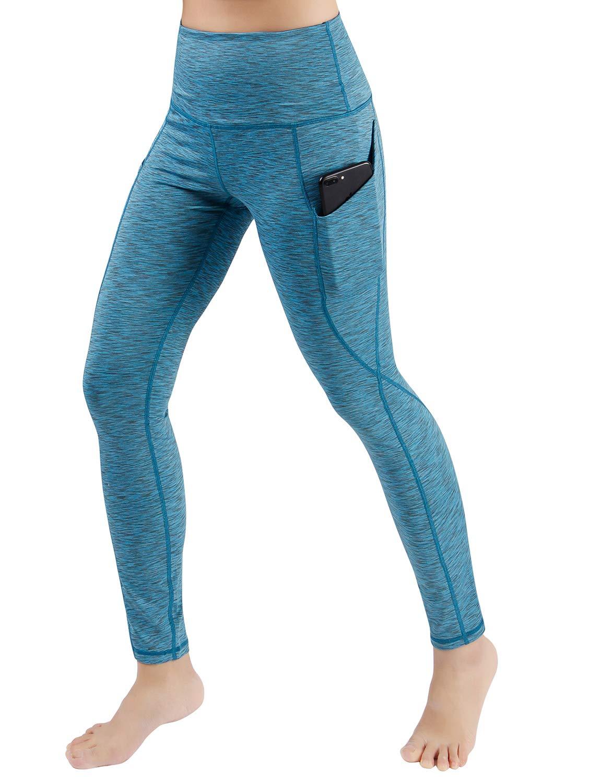 ODODOS High Waist Out Pocket Yoga Pants Tummy Control Workout Running 4 Way Stretch Yoga Leggings,SpaceDyeBlue,X-Small