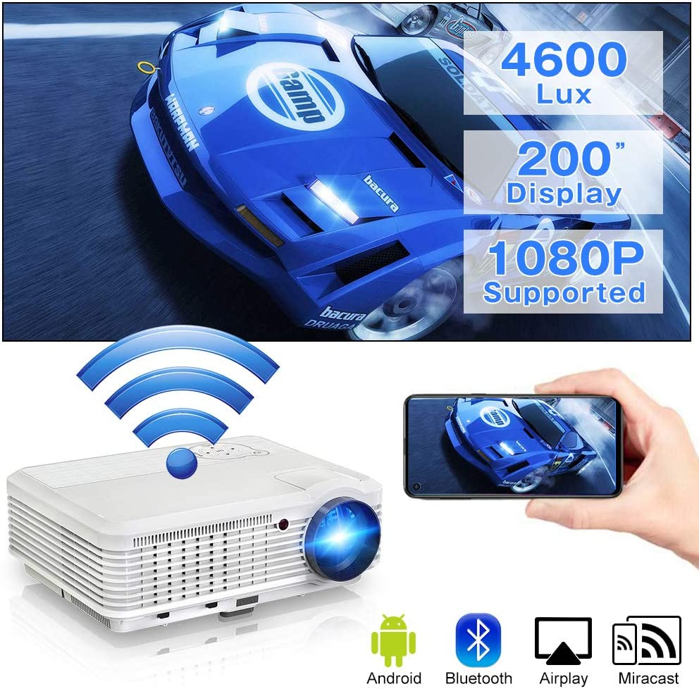 """Wireless WiFi Projector with Bluetooth, 4600 Lumen Home Theater Projector Support 1080P, 200"""" Display, Compatible with Smartphone, Laptop, PC, PS4, TV Stick, HDMI, USB, VGA, AV for Outdoor Movie"""