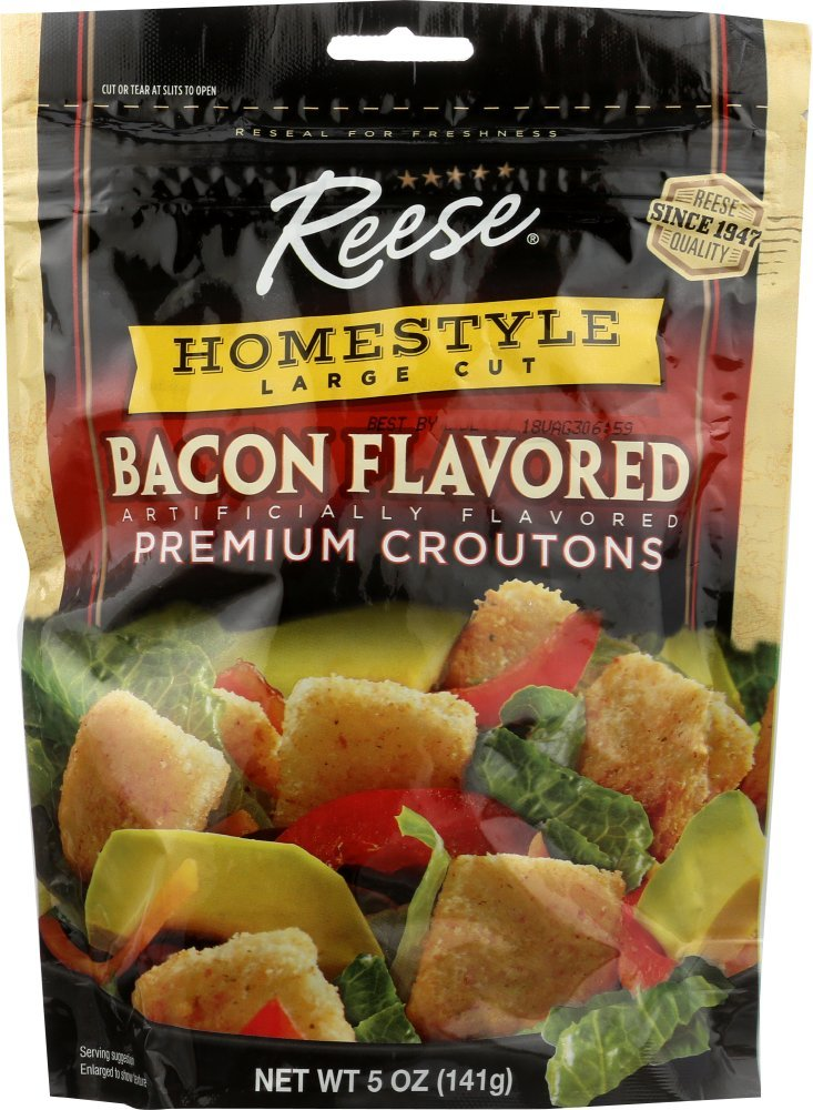 Reese Bacon Flavored Croutons, 5-Ounces (Pack of 12)