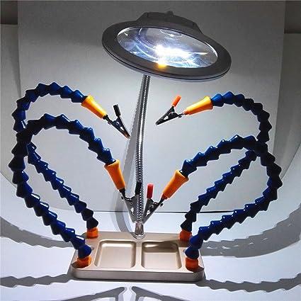 Tercera mano soldador soldadura soporte de hierro soporte estación de lupa ayuda herramienta: Amazon.es: Bricolaje y herramientas