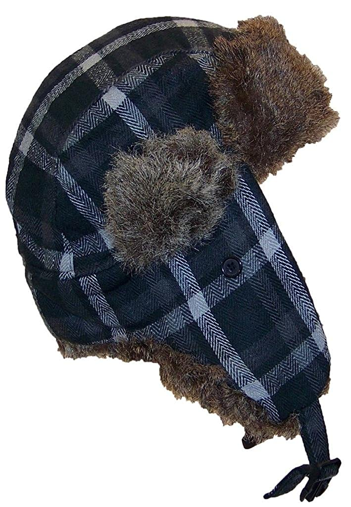 Angela & William Adult Plaid Russian/Trapper Winter Hat w/Soft Faux Fur(One Size)