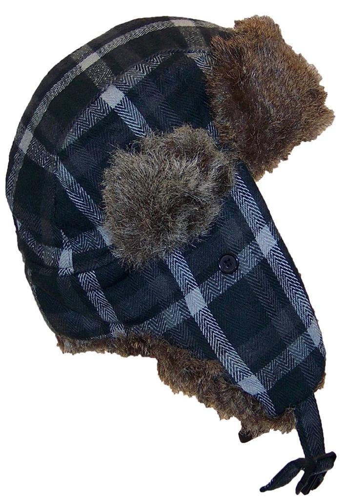 Angela & William Adult Plaid Russian/Trapper Winter Hat w/Soft Faux Fur(One Size) - Black/Gray