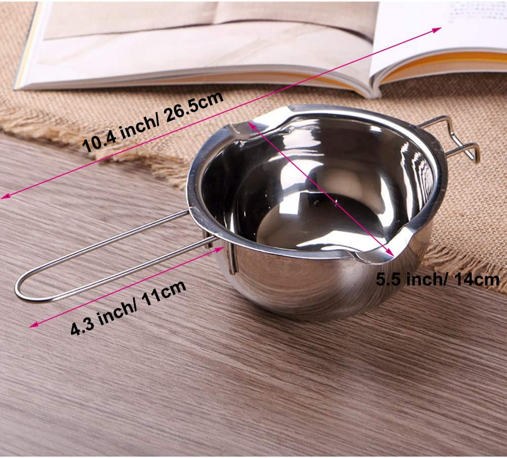 Double Boilers NUOMI Stainless Steel Chocolate Melting Pot Candy Melting Pot with Spout Caramel for Butter Soap and Candle Making Cheese Milk Pot