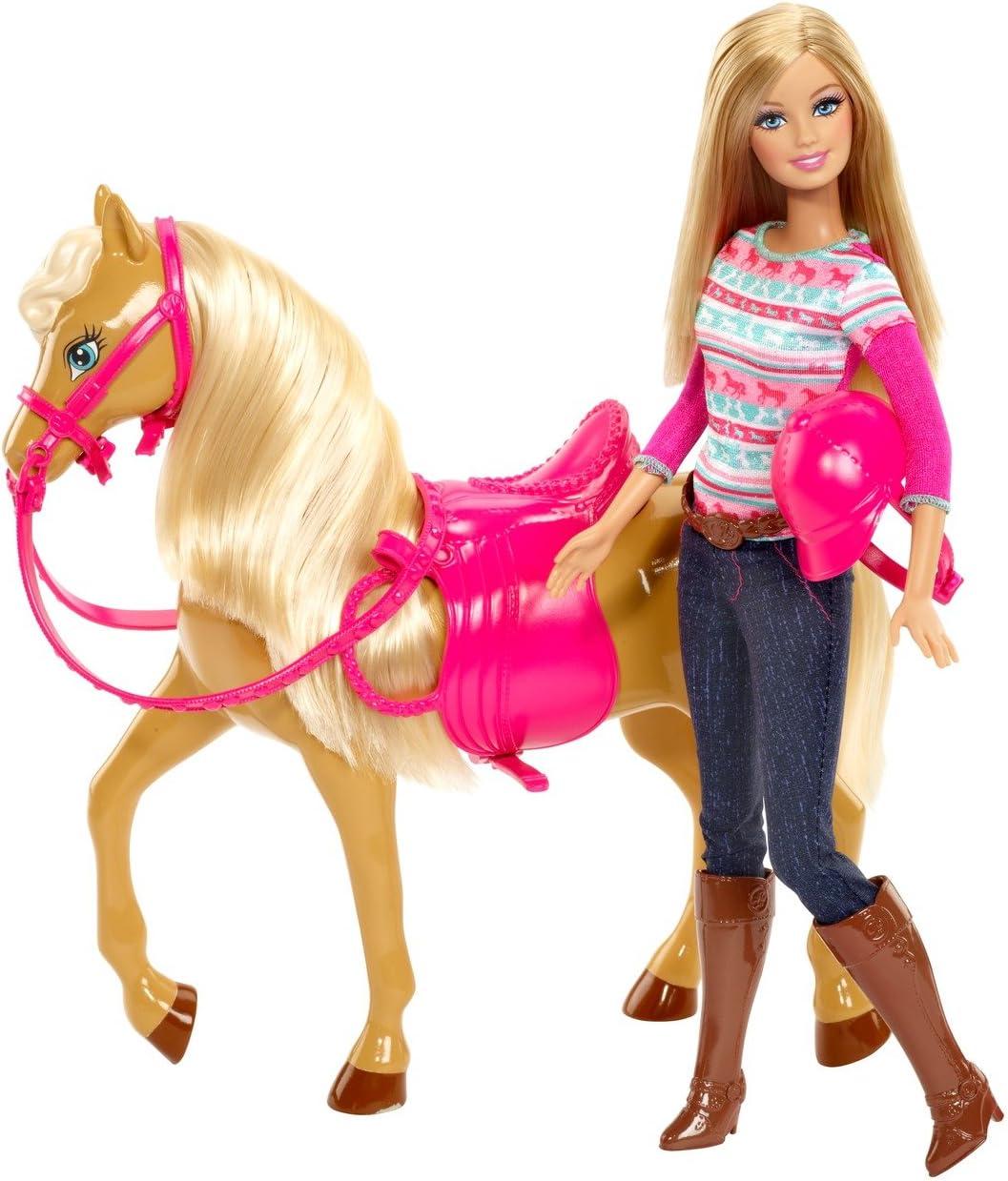 Barbie - Muñeca Barbie con Caballo y Silla de Montar