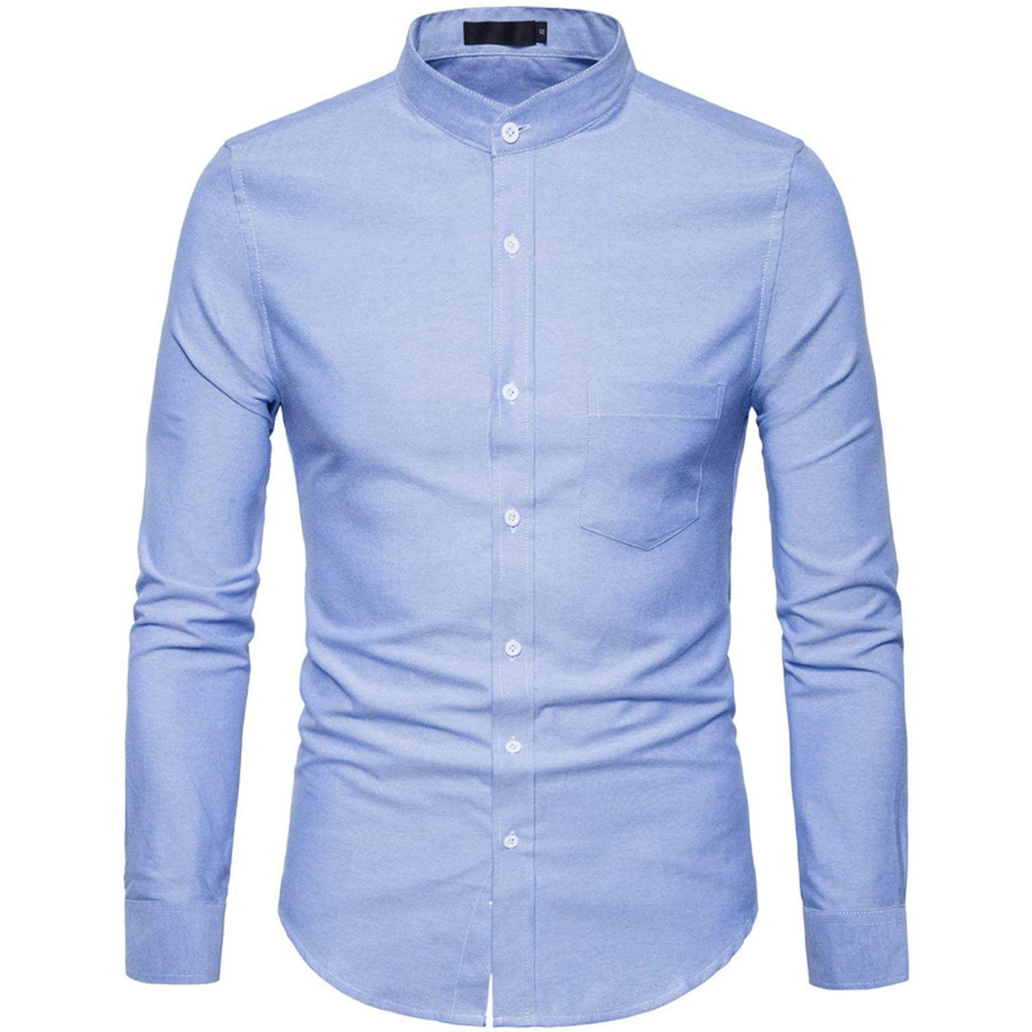 Oxford Cotton Mens Dress Shirts 2019 Spring New Stand Collar Casual Slim Fit Youth Style Male Clothing 6XL