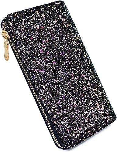 Women Glitter Leather Wallet Long Purse Card Holder Case Phone Clutch Handbag