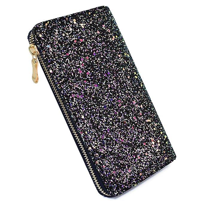 Laimi Duo Bling Black Glitter Clutch Shiny Handbag RFID Blocking Leather  Wallet Multi Card Organizer for 5528c03200e19