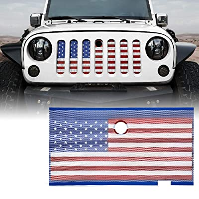 Xprite Stainless Steel Mesh Grill Insert American Flag Matte Steel Mesh Grille Grid with Hood Lock Hole for Jeep Wrangler JK JKU 2007-2020: Automotive
