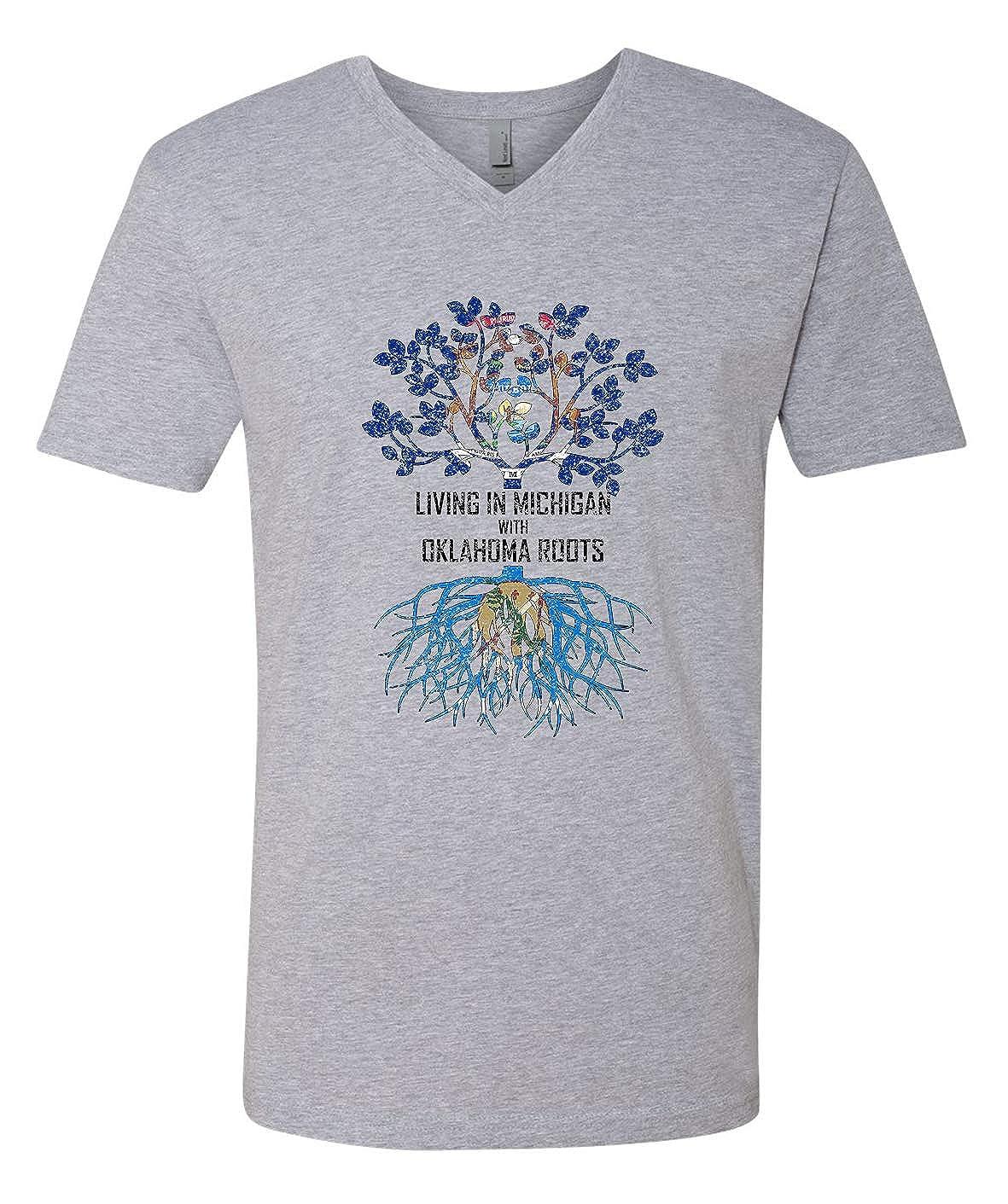 Tenacitee Mens Living in Michigan Oklahoma Roots T-Shirt
