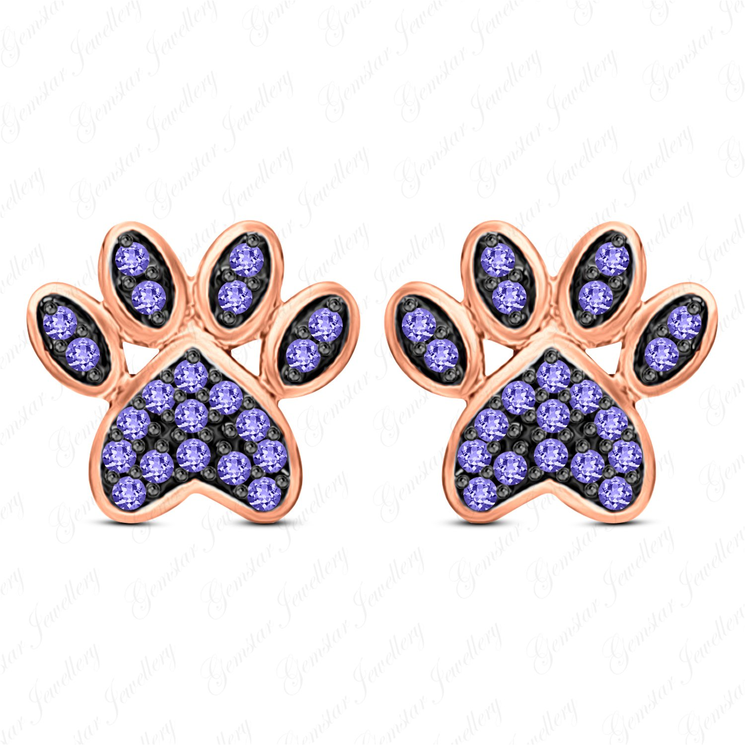 Gemstar Jewellery Lovely Dog Paw Print Stud Earrings In 14k Rose Gold Plated Brilliant Cut Tanzanite