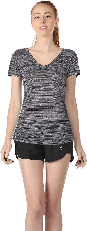 icyzone Damen T-Shirt Kurzarm V-Ausschnitt Yoga Tops Casual Sport Shirt 2er Pack