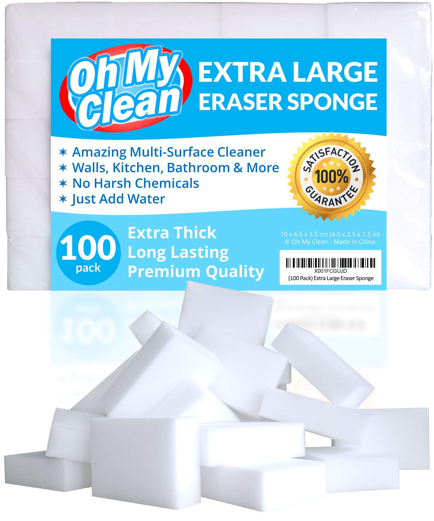 (100 Pack) Extra Large Eraser Sponge - Extra Thick, Long Lasting, Premium Melamine Sponges in Bulk - Multi Surface Power Scrubber Foam Cleaning Pads - Bathtub, Floor, Baseboard, Bathroom, Wall Cleaner by Oh My Clean