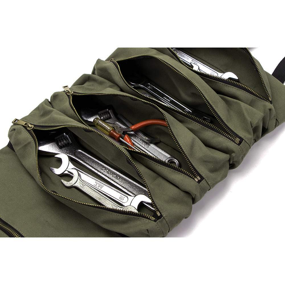 HVAC carpintero o mec/ánico Bolsa organizadora de herramientas de lona resistente con 5 bolsillos con cremallera para herramientas el/éctricas plomo negro
