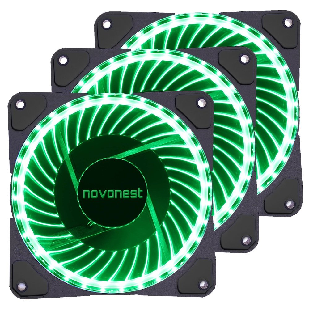 uphere 120mm Green LED Silent Fan for Computer Cases, CPU Coolers, and Radiators Ultra Quiet High Airflow Computer Case Fan, (Triple Pack)