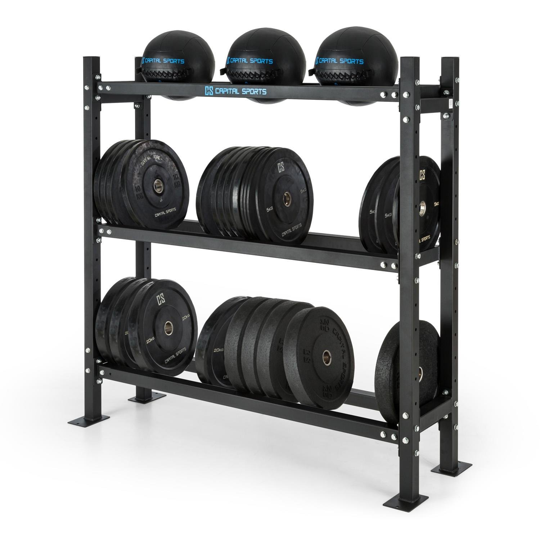 Capital Sports Traytor B Estantería para pesas (3 estantes de acero, para guardar pesas, barras o balones, altura regulable, posibilidad de atornillar al ...
