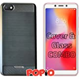 POPIO Back Cover Case and Tempered Glass Combo for Xiaomi Redmi 6A