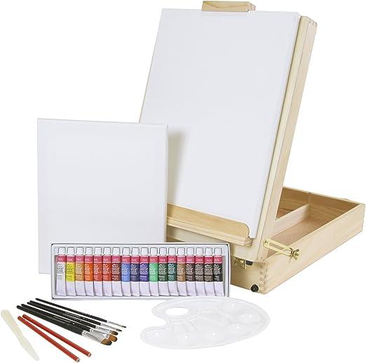Caballete para mesa XL + Juego de pintura «Riva» de 30 piezas con ...
