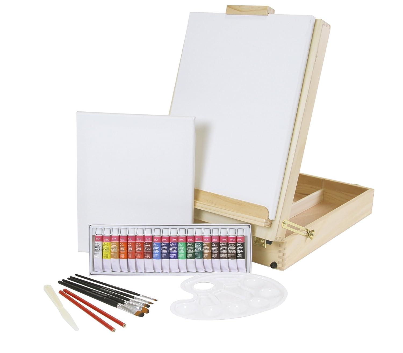 """Set con cavalletto XL da tavolo + set da pittura """"Riva"""", con 35colori acrilici, set di pennelli + cornice, con valigetta per accessori Paintersisters-Neuss"""