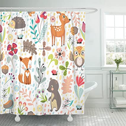 VaryHome Shower Curtain Colorful Hedgehog With Cute Cartoon Forest Animals On White Different Plants Childrens Branch