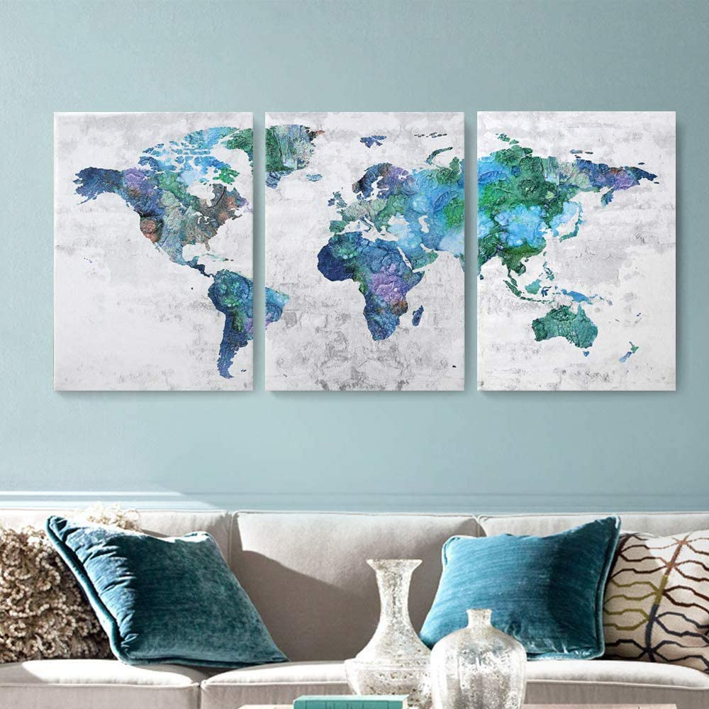 Wall Art for Living Room Wall Decor for Bedroom Abstract Canvas Wall Art World Map Canvas Prints 20x28x3 Framed Wall Art Easy to Hang Wall Decorations Modern Popular Wall Decoration