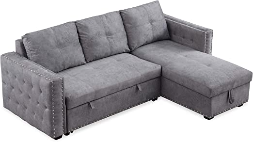 """Amazon.com: Reversible Sleeper Sectional Sofa, Corner Sofa-Bed With Storage,91"""" W64.5 D35.5 H, Nailheaded, Grey: Kitchen & Dining"""