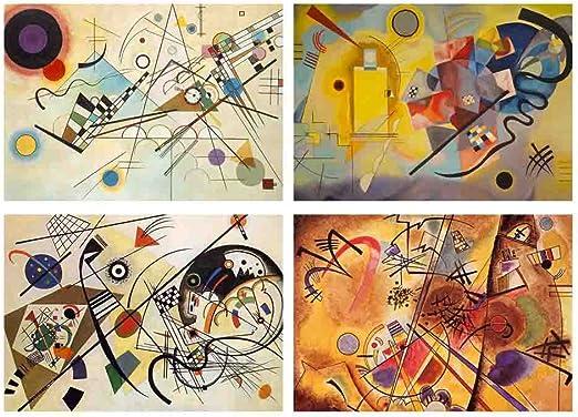Juego de 4 manteles individuales de mesa, diseño de Kandinsky: Amazon.es: Hogar