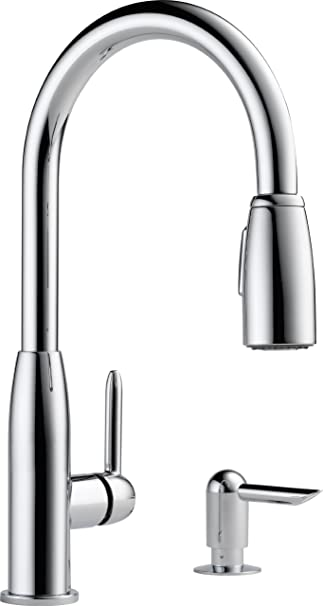 Peerless P188103lf Sd Apex Single Handle Kitchen Pull Down With Soap