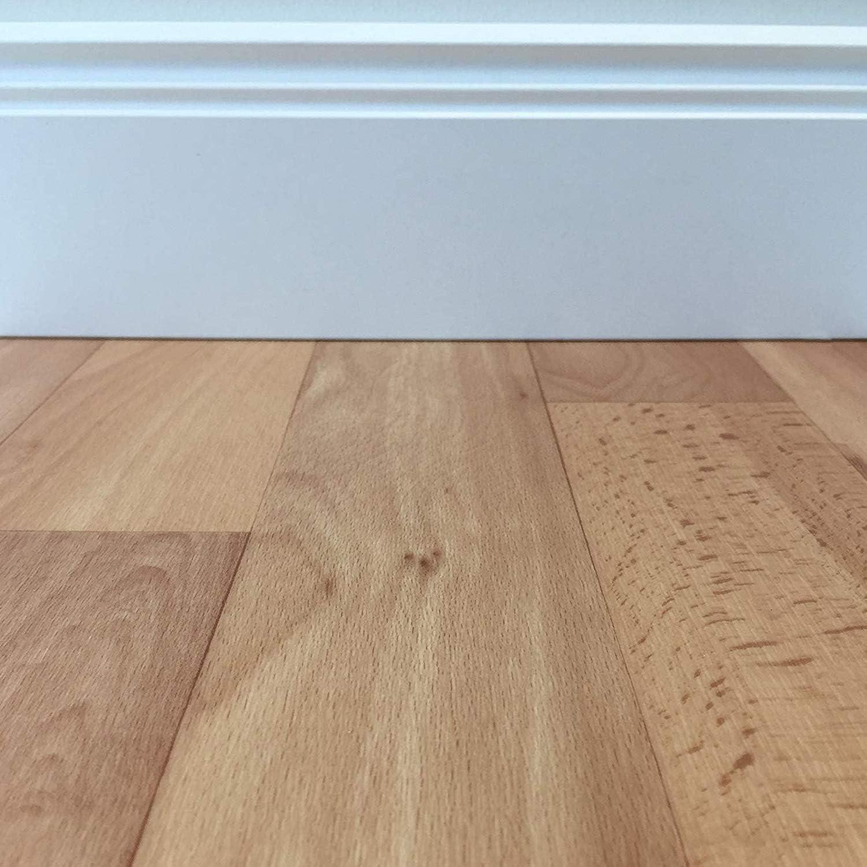 rutschhemmend CV-Boden wird in ben/ötigter Gr/ö/ße als Meterware geliefert PVC Vinyl-Bodenbelag in hellbrauner Holzoptik PVC-Belag verf/ügbar in der Breite 3 m /& in der L/änge 4,0 m