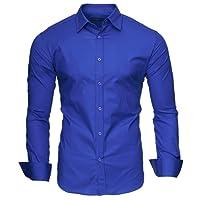 Kayhan Herren Hemd Slim-Fit Langarm Hemden Freizeit Hochzeit Arbeit Business 14 Farben zur Auswahl