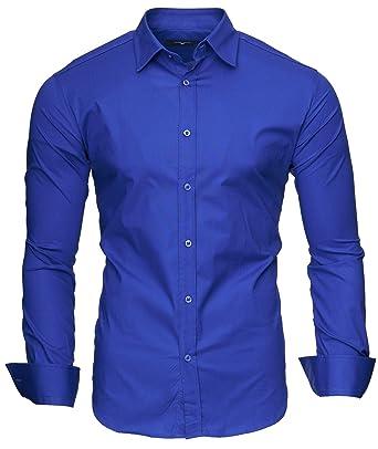 Kayhan Langarmhemd Slim Fit 20 Farben zur Auswahl S-XXL Blau (S)