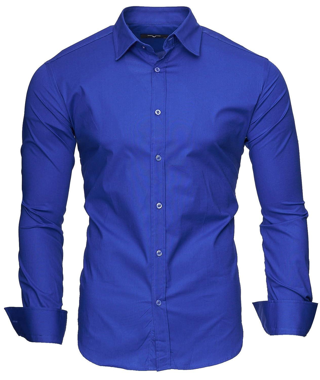 Kayhan Herren Hemd Slim-Fit Langarm Hemden Freizeit Hochzeit Arbeit Business Super Qualität UNI S M L XL 2XL 3XL 4XL 5XL 6XL