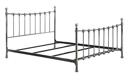 DHP Merano Metal Bed Frame Elegant Victorian Design Queen Size Antique Brass