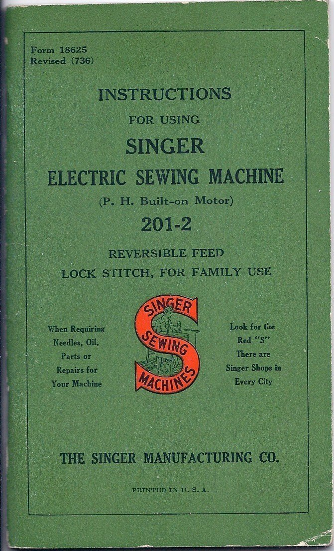 Singer Electric Sewing Machine Instructions 1939 Ph Built On
