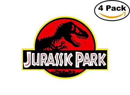 Jurassic park sticker decal vinyl wall logo jeep safari dinosaur park 4 stickers