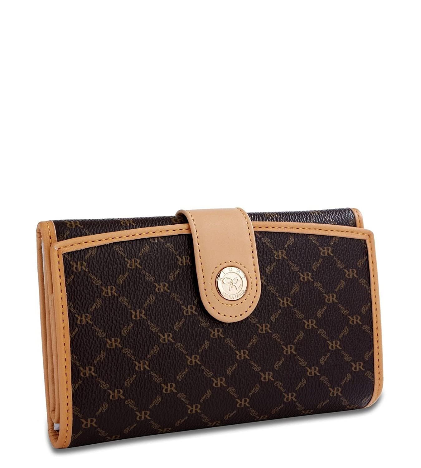 Signature Multi-Fold Button Wallet in Brown