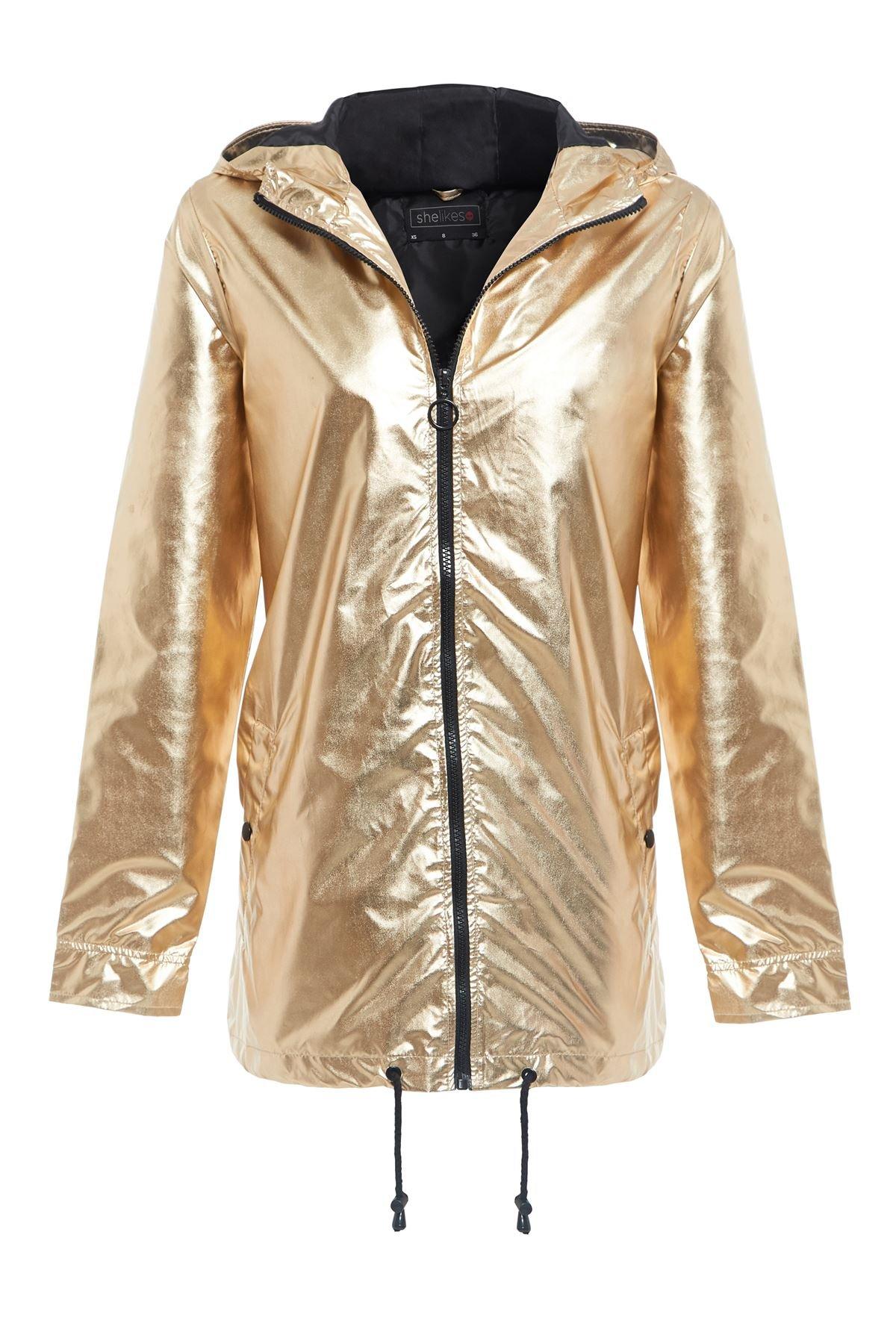 Womens Hooded Zipped Metallic Festival Jacket Top Raincoat Kagool Mac-Gold-8