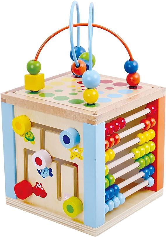 Tooky Toy bunter 5 in 1 Motorikwürfel Holz Spielcenter mit Motorik Schleife, Lernuhr, Labyrinth, Schiebespiel geeignet ab 3 Jahren ca. 20 x 20 x