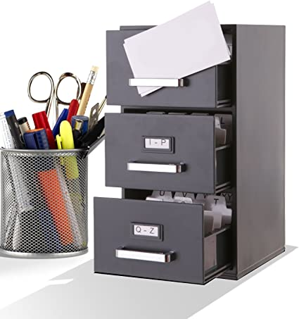 Archivador tamaño mini para tarjetas de visita, 3 cajones: Amazon.es: Oficina y papelería
