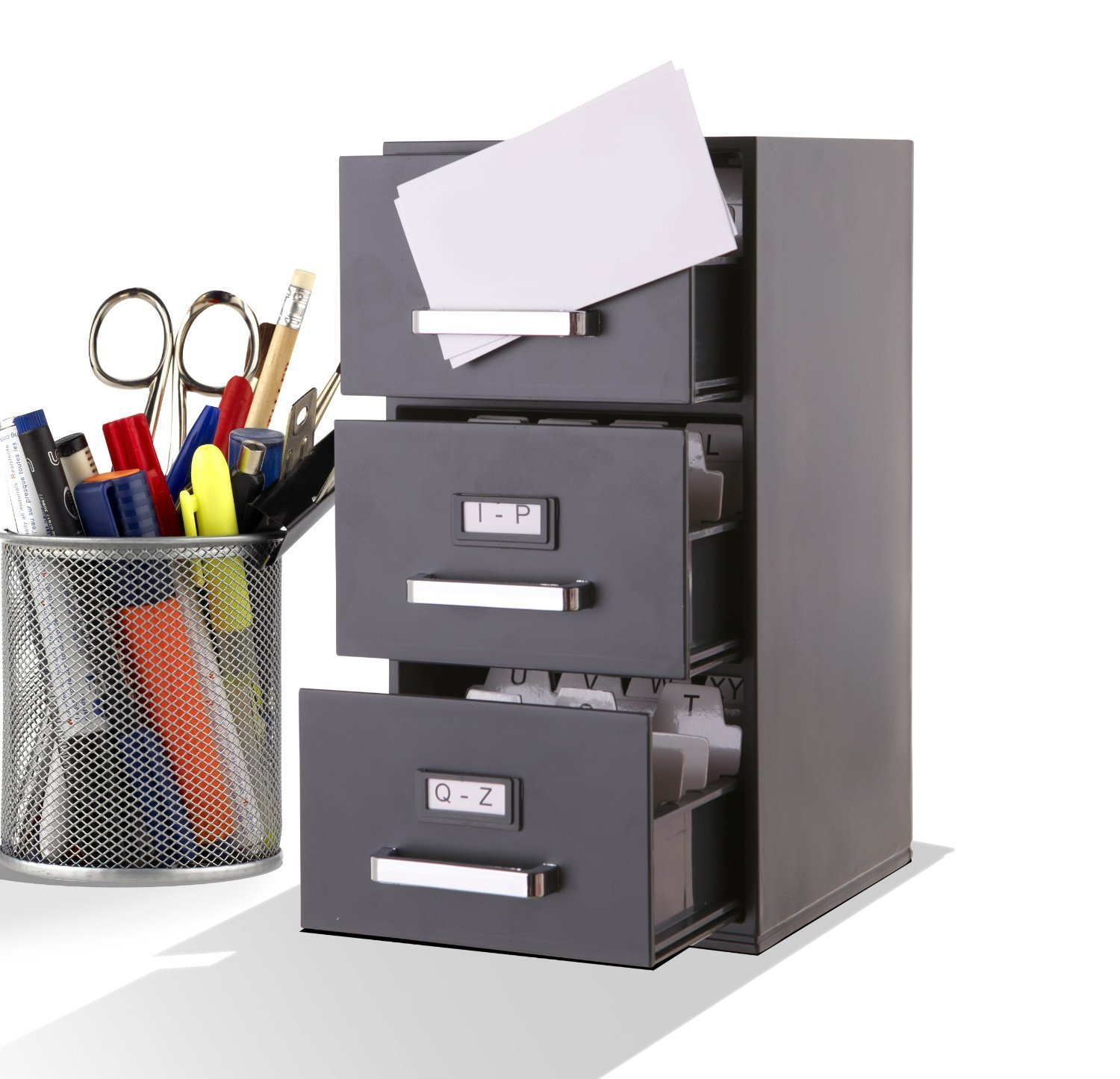 amazoncom mini file cabinet business card holder 3drawer office products - Small File Cabinet