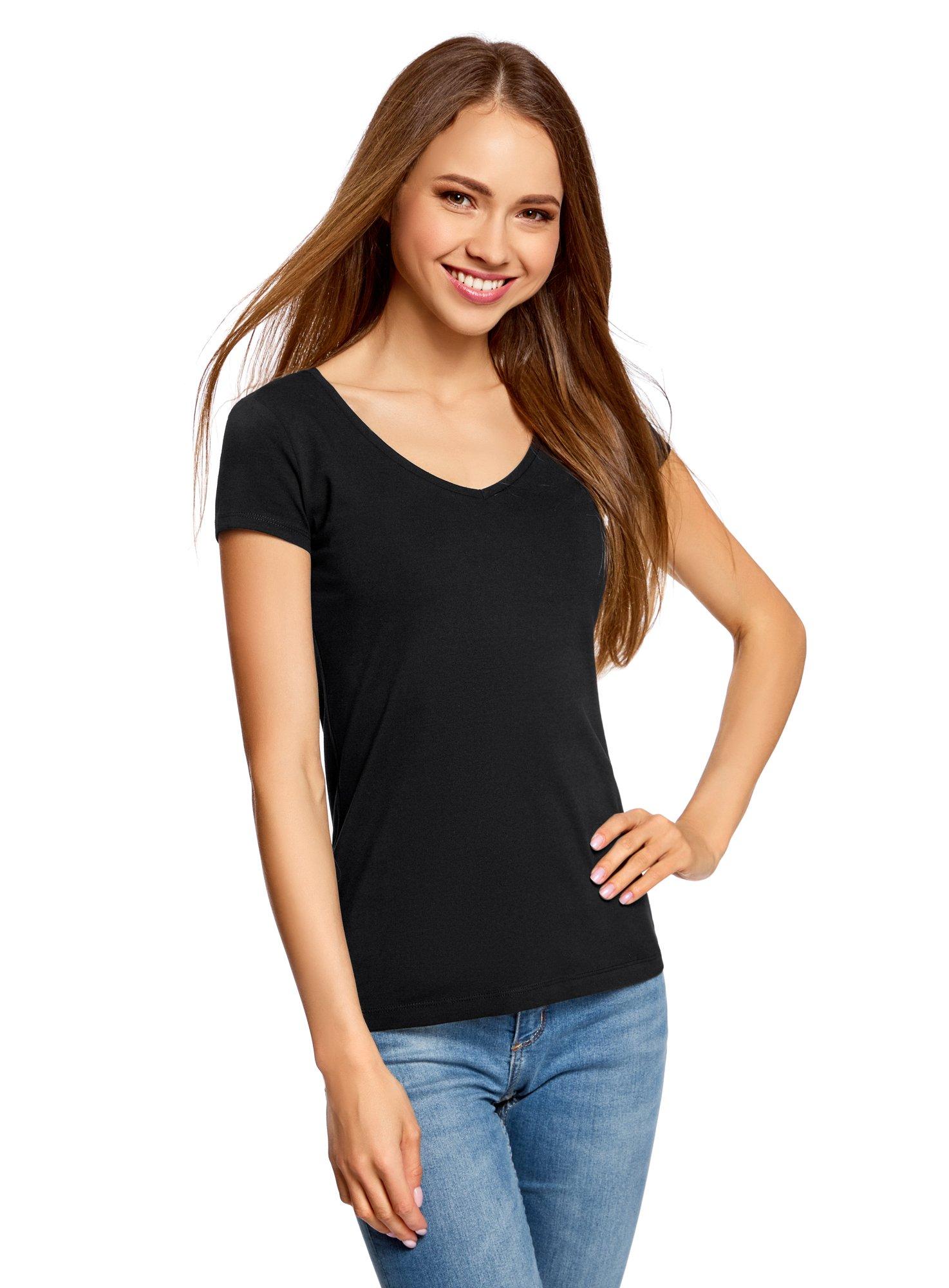 7767d6121b oodji Collection Mujer Camiseta Básica con Escote en V sin Etiqueta